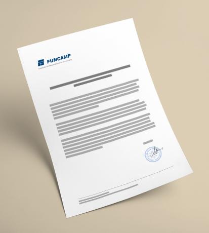 Documento Funcamp com logo da empresa