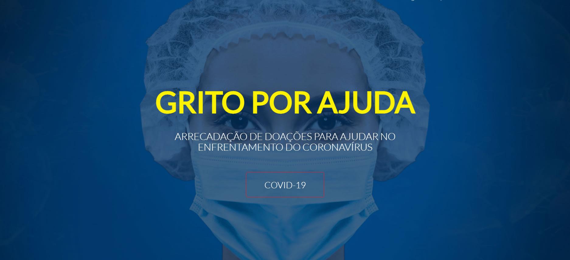 Enfermeira usando máscara com o texto escrito: Grito por ajuda: Arrecadação de doações para ajudar no enfrentamento do Coronavírus.