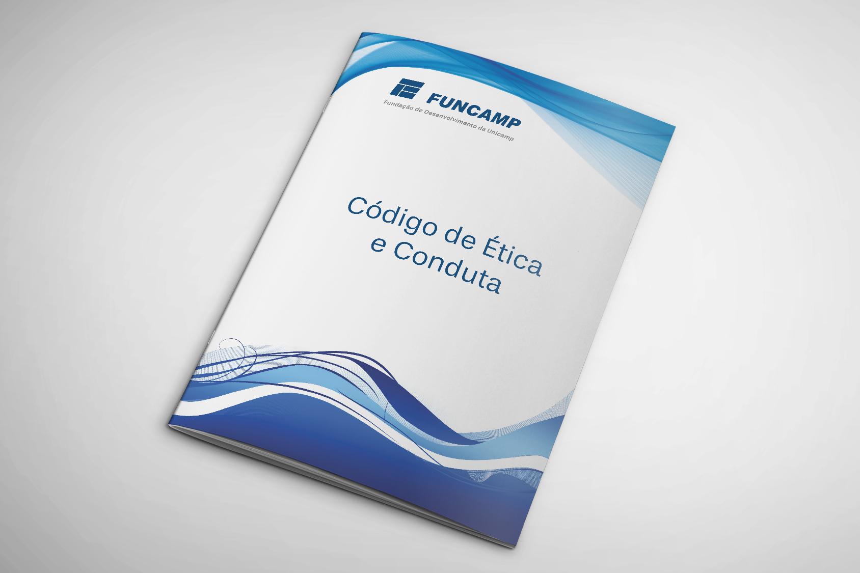 livro com a capa branca com ondas azuis na parte superior e inferior e no meio escrito código de ética e conduta.